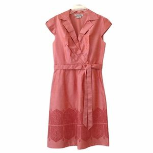 Kay Unger Coral Silk Embroidered Dress